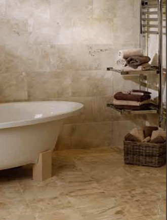 natural stone floor and wall tiles in bathroom